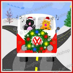 Cats singing Christmas carols in a VW with a lighted wreath on the hood… Christmas Tree Themes, Christmas Carol, Christmas Humor, Christmas Print, Santa Christmas, Christmas Ideas, Xmas Wallpaper, Christmas Aesthetic, Cat Wall