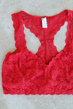 Nahoon Lace Bralette - Red