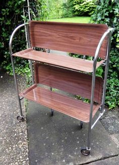 VINTAGE RETRO 1960s Original Chrome FOLDING TROLLEY