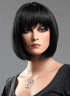 Smooth Polished Bob Hairstyle With Full Bangs Natural Black 10 Inches 100% Human Hair