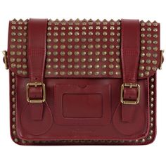 DR. MARTENS Bags ($130) ❤ liked on Polyvore featuring bags, handbags, bolsas, purses, cherry red stud, red leather handbag, studded satchel handbag, red leather purse, red handbags and satchel handbags