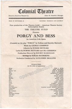Porgy & Bess - World Premiere Program 1935!