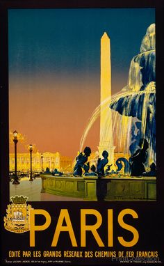 Paris, édité par les grands réseaux des chemins de fer Français / Julien Lacaze ; Imp. Chaix, Paris. Created by Julien Lacaze in 1930 as a color lithograph at 100 x 62 cm. Poster showing Place de la C