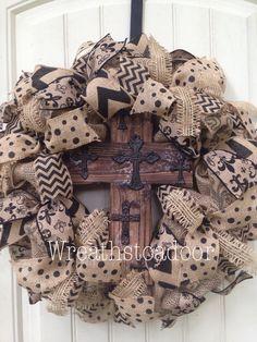 Burlap wreath with cross www.facebook.com/wreathstoadoor