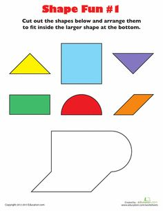 Here's some shape fun for young learners. Cut out these colorful shapes to see how they can come together in a larger shape. Shapes Worksheet Kindergarten, Shapes Worksheets, Tangram, Educational Toys For Kids, 2nd Grade Math, Creative Art, Preschool, Teaching, Labyrinths