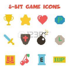 8 bit item icons Stock Vector