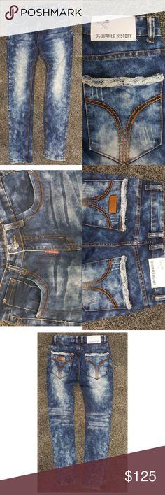 Dquared2 skinny jeans DSquared2  Mens skinny jeans  Like new No holes, stains, or fraying Multi color bleached jeans  Retail Price is $599.00 From Bloomingdales   Size 30 Waist flat measured at 31 inches 32 inch inseam Cotton spandex blend DSQUARED Jeans
