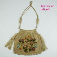 Georgian Reticule Purse Needlework Crewel on Gauze 1820