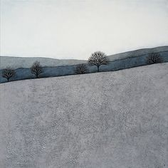 Intermission 4 - Archival Art Print - Contemporary Minimalist Winter Landscape Painting - Grey, Blue, Slate - by Natasha Newton
