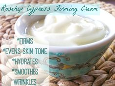 "Rosehip Cypress Firming Cream. I'm going to be really honest with you at the risk of sounding vain-I'm concerned about wrinkles.  I haven't quite accepted that I don't have 20 year old skin anymore.  In the future I plan to settle down about this but for now I'll just keep coming up with anti aging potions!   Rosehip oil is hugely popular in the ""anti aging"" skin care world.  I've been hearing of it's benefits for a while now.   I have chosen ingredients for this moisturizer specifically"