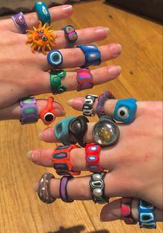Fimo Ring, Polymer Clay Ring, Funky Jewelry, Cute Jewelry, Jewlery, Diy Clay Rings, Cute Rings, Bijoux Diy, Clay Crafts