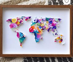 Items similar to World Map Paper Cut on Etsy Arte Quilling, Paper Quilling Patterns, Quilled Paper Art, Quilling Jewelry, Quilling Paper Craft, Paper Crafts, Diy Arts And Crafts, Diy Crafts, Paper Artwork
