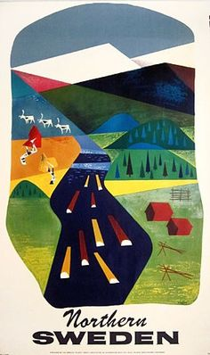 Northern Sweden by S. Kreder 1950s #travel #poster: