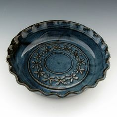"""Deep Rich Dark Blue 9"""" Hand Carved Pottery Dish From TwistedRiverClay on Etsy.   $42    This is gorgeous!"""