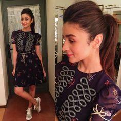 Alia Bhatt in ponytail and high neck dress