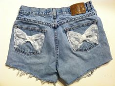 Lace Bow High Wasted Shorts SIZE 8. $22.00, via Etsy.
