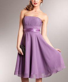 This Lavender Chiffon Strapless Dress is perfect! #zulilyfinds