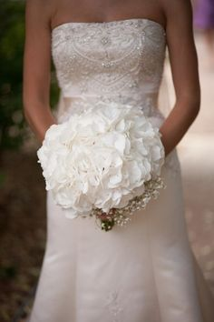 Dutch White Hydrangea wedding bouquet.  I like this, but want purple hydrangeas