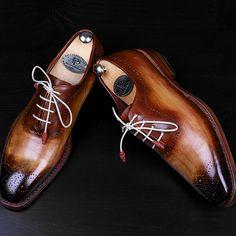 Paul Parkman Brown & Camel Medallion Toe Oxfords Website : www.paulparkman.com #paulparkman #paulparkmanshoes #handmade #bespoke #luxury #shoemaker #handcrafted #shoesformen #mensshoes #handmadeshoes...