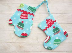 Mitten and stocking soft Christmas decoration set of by poppyshome, $12.00