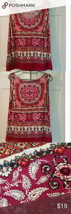 """FUN AND COLORFUL PLUS SIZE TANK TOP, SIZE 1X Bright vibrant colors, beautiful lace on the hem, sequins and beading throughout, silky 100% rayon makes this a lovely cool spring and summer time top. Wider straps hide your bra straps if you wear one. Bust 22.5"""", Hips 24"""", length 28.5"""". Covers stomach and rear end.😁. Tops Tank Tops"""