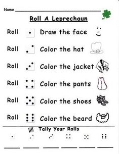 Students roll a dice to illustrate the accompanying leprechaun shape. They also practice tally skills while recording the number of times each numeral is rolled. A fun seasonal activity to play individually or with a partner at a math center!Color and black and white copies are included in the set.