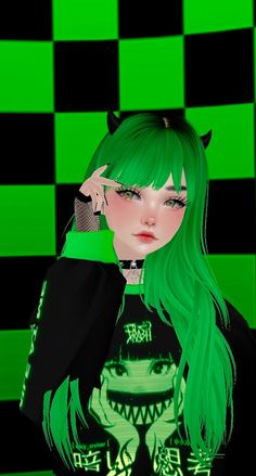 Cute Animal Drawings Kawaii, Kawaii Art, Kawaii Anime, Anime Green Hair, Green Hair Girl, Dark Green Aesthetic, Goth Aesthetic, Cute Anime Profile Pictures, Cute Anime Pics