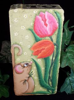 Springtime Tulips Painted Paver (pattern avail: 13014 Time to Bloom Cement Brick Pattern by OilCreekOriginals)