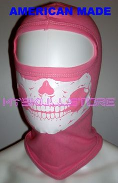"AMERICAN MADE / ADULT FIT PINK SKULL BALACLAVA SKI HOOD HELMET LINER FOR WOMEN 100% USA MADE 100% Soft Cotton Double stitched at hems and Seams Premium Quality Mask 1 Hole SKULL Balaclava Total Length 14-14.5"" Total width at Neck Opening ( Not stretched ) Approximately 8.5-9"" http://www.shop.skullstore.com/"