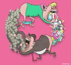As ilustrações satíricas de Steve Cutts retratam a dura realidade sobre a sociedade atual, em crítica ao capitalismo e o consumismo desenfreado. Confira!