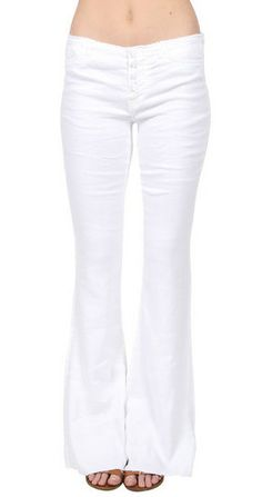 Ev Cut Waistband Flare Pant in Alabaster 198