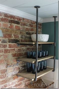 Kitchen Remodel - Open Shelves with Plumbing Pipe