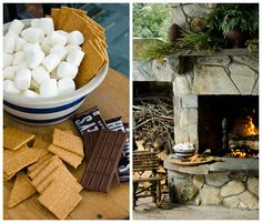 Comfort Food Texas Style with Lisa Hilderbrand | The Devine Life -- outdoor fireplace is made for s'mores after a big day of sledding, snowball fights and lunch.  || Hilderbrand Interiors