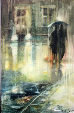 Gone with the Rain Watercolor Negative Painting, Rain Painting, Watercolor Landscape, Landscape Paintings, Watercolor Paintings, Watercolours, Rain Art, Umbrella Art, Trash Polka