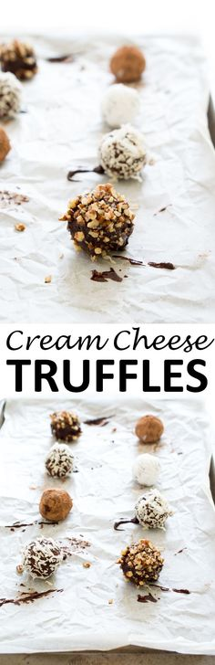 Super Easy Cream Cheese Truffles. Rich, decadent and bite sized. No bake and only 4 ingredients! | chefsavvy.com #recipe