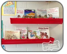 So nifty! Using rain gutters as bookshelves. Just attach them with Velcro.