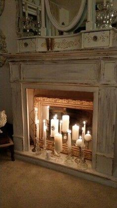 20 Simple Ways to Decorate a Fireplace & Mantle with Flameless Candles - Easy l. - 20 Simple Ways to Decorate a Fireplace & Mantle with Flameless Candles – Easy living room firepl - Candles In Fireplace, Diy Fireplace, Living Room With Fireplace, Fireplace Design, Fireplaces, Fireplace Decorations, Decorating Ideas For Fireplace, Vintage Fireplace, Decorative Fireplace