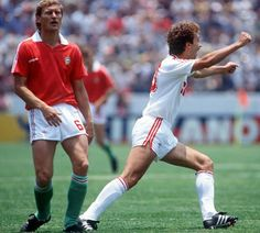 USSR 6 Hungary 0 in 1986 in Irapuato. Sergei Aleinikov runs off after making it on 20 minutes in Group C at the World Cup Finals. Football Design, World Cup Final, Soviet Union, Finals, Mexico, Soccer, Hero, Running, History