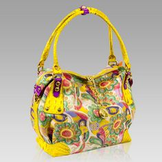 $611.60+-+Marino+Orlandi+Designer+JAPA+Floral+Yellow+Leather+Large+Slouchy+Bag+[02MO4044JLYL]+:+Italian+Leather+Handbags,+Top+Rated+Designer+Hand+Bags,+Trendy+Designer+Handbags