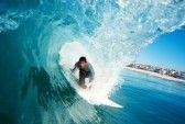 surfing : Surfer On Blue Ocean Wave