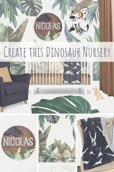 Create a boho Dinosaur Nursery with jungle leaves wallpaper, dinosaur name sign, knit dinosaur blanket and palm leaf area rug Baby Bedding, Baby Boys, Toddler Boys, Dinosaur Blanket, Dinosaur Crafts, Dinosaur Wallpaper, Dinosaur Bedroom, Baby Room Design, Child Room
