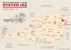 Oyster Ike Plakat | How to Pronounce Cities and Regions of #Austria Correctly – #Map by Komische Künste