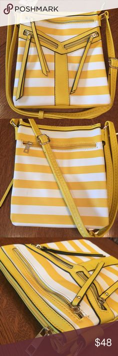 "Cross body messenger bag yellow stripe HP🎉 Cute cross body messenger bag is striped vegan leather w/inner and outer zippered pockets and gold hardware.  9x10x2"" Bags Crossbody Bags"
