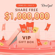 Rosegal's vip surprise gift: share free $1,000,000 on june 25 to july 1.