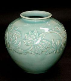 Seiji Celadon Vase by Miyanaga Tozan
