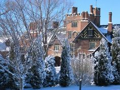 Stan Hywet Hall, Akron, Ohio, built 1912-1915.  In years gone by, we wandered these beautiful grounds...meadows, woods, gardens--the tudor mansion during the holidays.