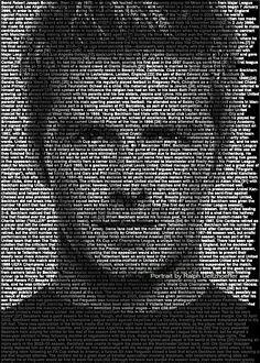 David Beckham, Text Portrait, Ralph Ueltzhoeffer (*1975)