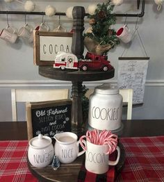 - Decorative Tray - Ideas of Decorative Tray - Rae Dunn tiered tray display. Christmas Kitchen, Country Christmas, All Things Christmas, Christmas Home, Xmas, Simple Christmas, Vintage Christmas, Christmas Centerpieces, Christmas Decorations