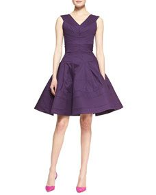 Zac Posen Sleeveless Full-Skirt Dress, Lavender