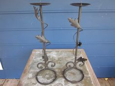 Wrought Iron Candleholders with leaves and vines by antiquesplusmore on Etsy